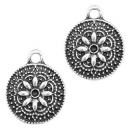 Metal charms coin 13mm Antique Silver