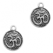 Metal charms Ohm coin 11mm Antique Silver