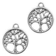 Metal charms tree of life 16mm Antique Silver