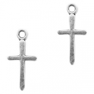 Metal charms cross Antique Silver