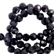 Round top faceted beads 4 mm Black-Pearl Shine Coating