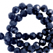Round top faceted beads 8 mm Hematite Blue