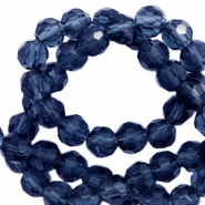 Round top faceted beads 4 mm Montana Blue