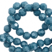 Round top faceted beads 6 mm Dark Mosaic Blue-Pearl Shine Coating