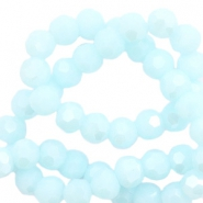 Round top faceted beads 6 mm Angel Blue-Pearl Shine Coating
