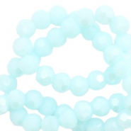 Round top faceted beads 4 mm Light Clearwater Blue-Pearl Shine Coating