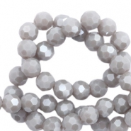 Round top faceted beads 8 mm Stone Grey-Pearl Shine Coating