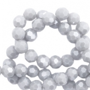 Round top faceted beads 6 mm Light Stone Grey-Pearl Shine Coating