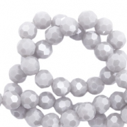 Round top faceted beads 4 mm Light Stone Grey-Pearl Shine Coating