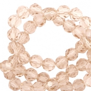 Round top faceted beads 6 mm Champagne