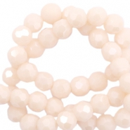 Round top faceted beads 8 mm Beige Nude Peach-Pearl Shine Coating