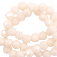 Round top faceted beads 4 mm Beige Nude Peach-Pearl Shine Coating