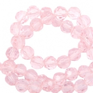 Round top faceted beads 6 mm Cradle Pink