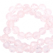 Round top faceted beads 6 mm Crystal Light Pink-Pearl Shine Coating