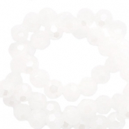 Round top faceted beads 4 mm White-Pearl Shine Coating