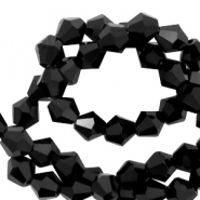 Top Faceted beads bicone 6 mm Jet Black-Pearl Shine Coating