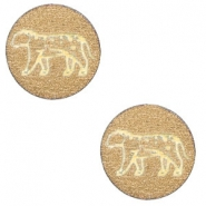 Wooden cabochon leopard 12mm Gold