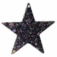 Faux leather pendants star with glitter Black-blue