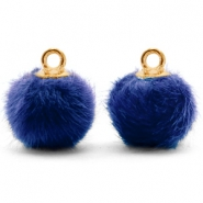 Pompom charms with loop faux fur 12mm Denim Blue-Gold