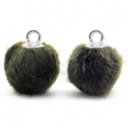 Pompom charms with loop faux fur 12mm Olive Grey-silver