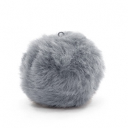 Pompom charms with loop  faux fur 3.5cm Dark Grey