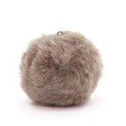 Pompom charms with loop  faux fur 3.5cm Taupe Brown