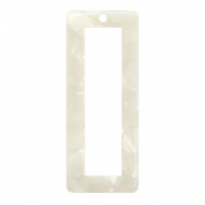 Resin pendants rectangle 40x16mm Off White