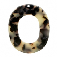 Resin pendants oval 48x40mm Cream-Black