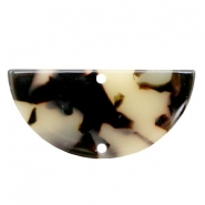 Resin pendants / connectors half circle 35x17mm Cream-Black