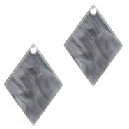 Resin pendants rhombus 20x14mm Grey