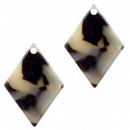 Resin pendants rhombus 20x14mm Cream-Black