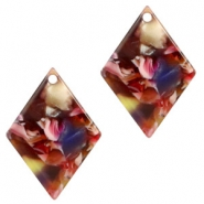 Resin pendants rhombus 20x14mm Mixed Red-Yellow