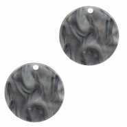 Resin pendants round 19mm Grey