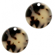 Resin pendants round 19mm Cream-Black