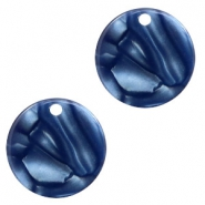 Resin pendants round 12mm Dark Blue