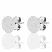 DQ European metal findings earpin round 8mm Antique Silver (nickel free)