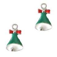 Metal charms Christmas bell Silver-Green
