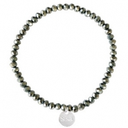 Sisa top faceted bracelets 4x3mm (stainless steel charm) Black-Amber Coating