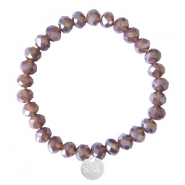 Sisa top faceted bracelets 8x6mm (stainless steel charm) Dark Grape Purple-Pearl Shine Coating