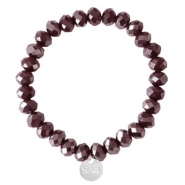 Sisa top faceted bracelets 8x6mm (stainless steel charm) Burgundy Red-Pearl Shine Coating
