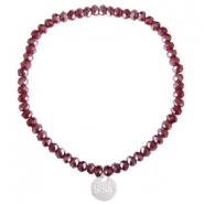 Sisa top faceted bracelets 4x3mm (stainless steel charm) Burgundy Red-Pearl Shine Coating