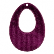 Velvet pendants drop 50x36mm Aubergine Purple