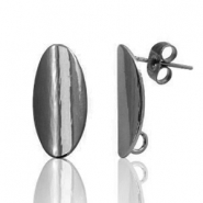 DQ European metal findings earpin oval 11x17mm Silver Anthracite (nickel free)