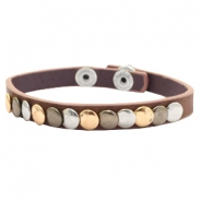 Ready-made Bracelets with studs Dark Brown