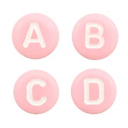 Acrylic letter beads mix Pink-White
