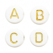 Acrylic letter beads mix Off White-Gold