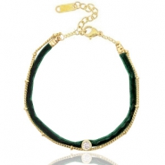 Ready-made bracelets velvet with belcher chain Dark Green-Gold