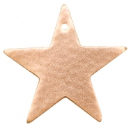 DQ European leather pendants metallic star Light Rose Gold