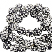Rhinestone beads 8mm Black-Silver