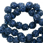 Rhinestone beads 10 mm Dark Blue